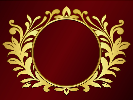 emblem red: Ornamental wreath with blank sign
