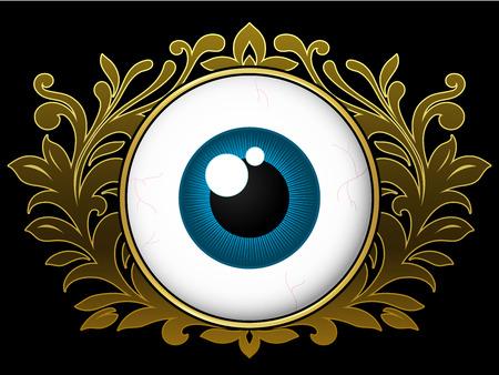 Eyeball with ornamental wreath Vector