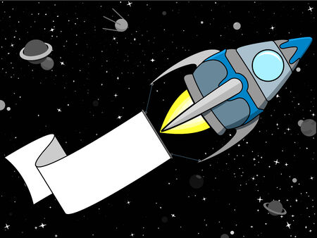 Rocket in Space with blank banner Vector