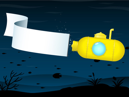 Yellow submarine with banner Vector