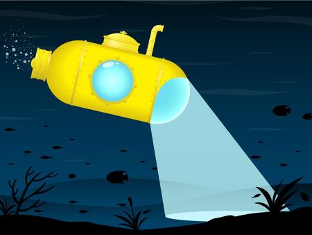 Yellow submarine exploring Ilustrace