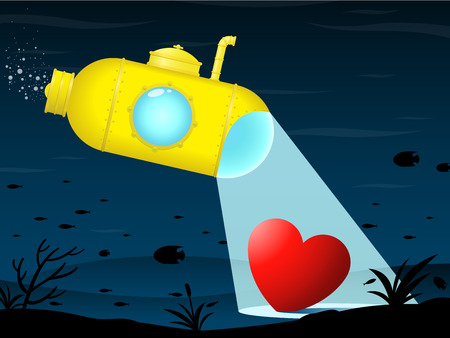 lost love: Yellow submarine finding heart Illustration