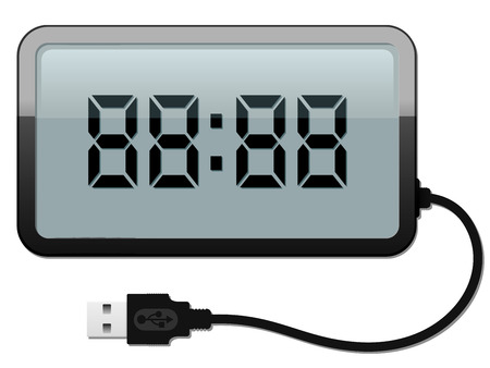 pm: Digital alarm clock with USB cable
