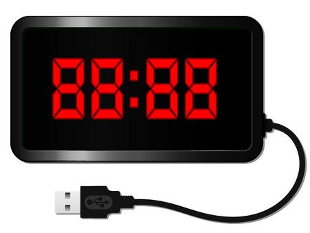 Digital alarm clock with USB cable Vector