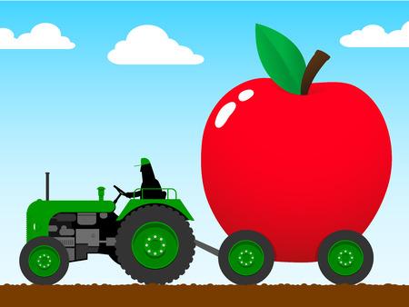 motricit�: Tracteur en tirant un �norme apple  Illustration