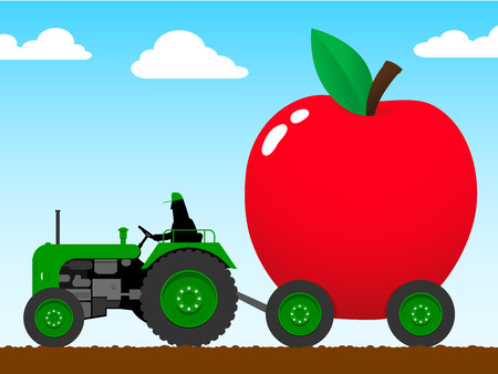 Tractor pulling a huge apple