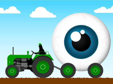 Tractor pulling the eye of giant Vector