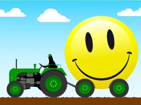 yellow tractor: Tractor tirando de una enorme cara sonriente
