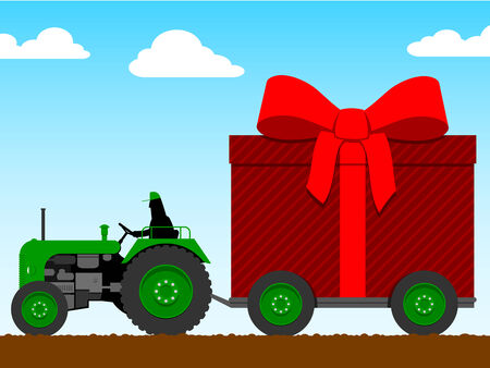 Tractor pulling a huge parcel  Vector