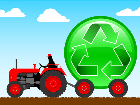 old tractor: Tractor pulling een enorme recycle symbool  Stock Illustratie