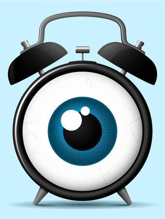 Classic alarm clock with staring eyeball Vector