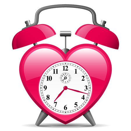 Classic alarm clock in heart shape