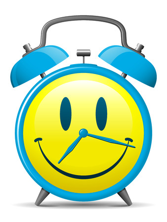 morning blue hour: Classic alarm clock with smiley face Illustration