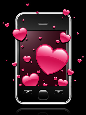 Modern mobile phone with pink hearts coming out of the display Vector