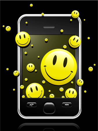 Modern mobile phone with yellow smiley faces coming out of the display Vector
