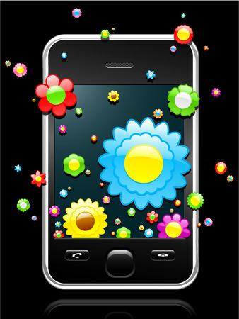 Modern mobile phone with colorful blossoms coming out of the display Vector