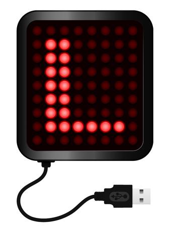 display type: Pantalla LED muestra alfabeto letra L - cable USB