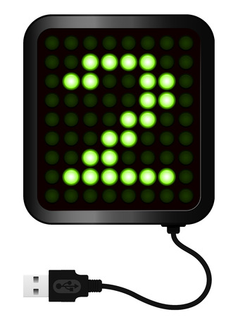 LED Display shows cipher 2 - USB cable Vector