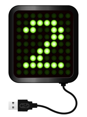 display type: Pantalla LED muestra cifrado 2 - Cable USB Vectores