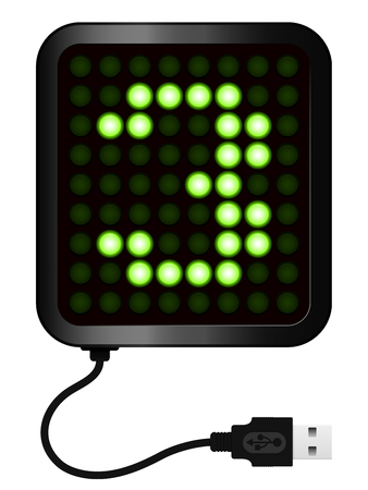 cipher: LED Display shows cipher 3 - USB cable