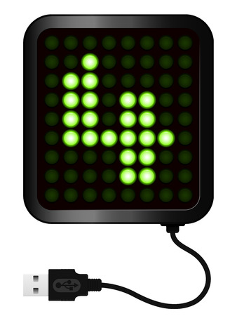 cypher: LED Display shows cipher 4 - USB cable