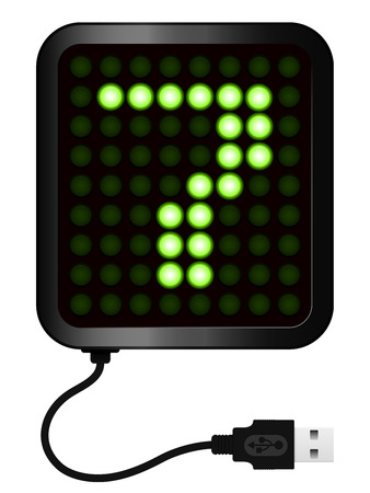 LED Display shows cipher 7 - USB cable Vector