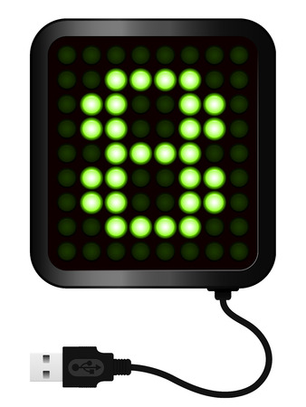 LED Display shows cipher 8 - USB cable Vector