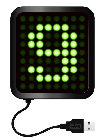 cipher: LED Display shows cipher 9 - USB cable