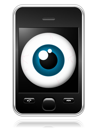 Modern mobile phone with observing eye on the display Vector