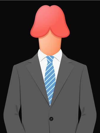 pene: Hombre de negocios con la cabeza del pene erecto Vectores