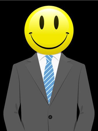 caras emociones: Hombre de negocios con la cara sonriente de color amarillo