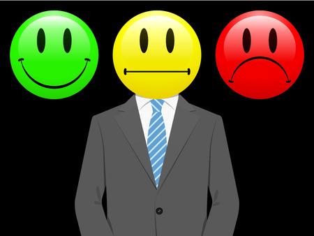 empresario triste: Feliz con el hombre de negocios, neutral e infeliz cara sonriente
