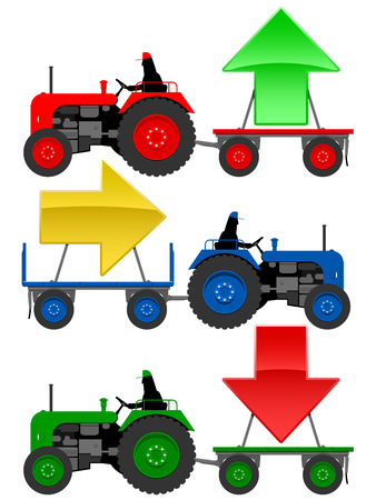 yellow tractor: Set of tractors pulling hangers with trend arrows