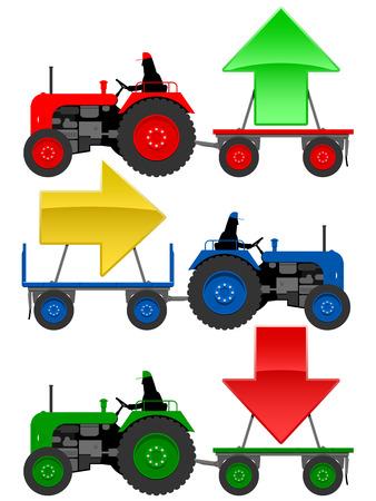 Set of tractors pulling hangers with trend arrows Stock Vector - 4769057