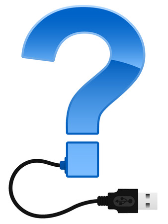 orthographic: Glossy question mark with USB cable