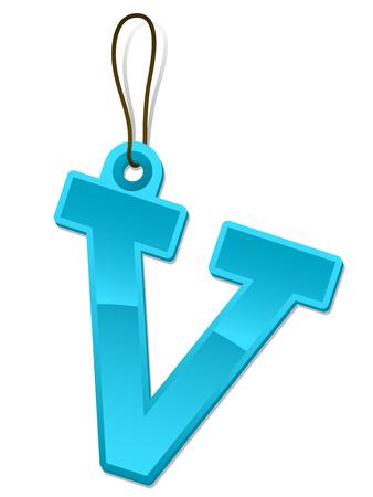 Alphabet letter V - tag Vector