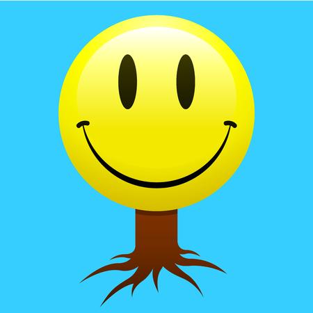 Smiley face tree Vector