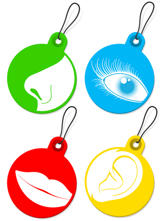 Nose, eye, mouth and ear pictogram tags collection Vector