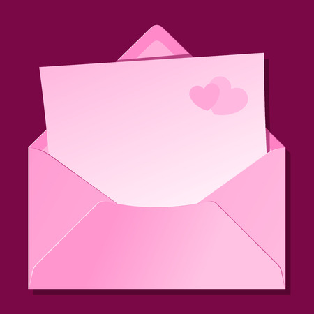 Blank love letter in pink envelope Vector