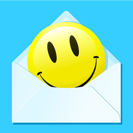 Smiley face in envelope Ilustrace