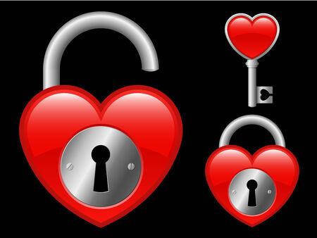 medaglione: Medaglione di cuore e chiave  Vettoriali