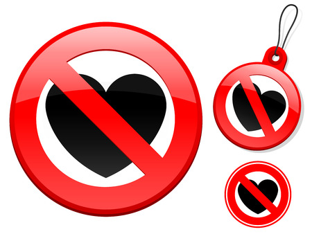 Prohibition sign collection - heart Vector