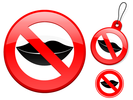 Prohibition sign collection - lips Vector