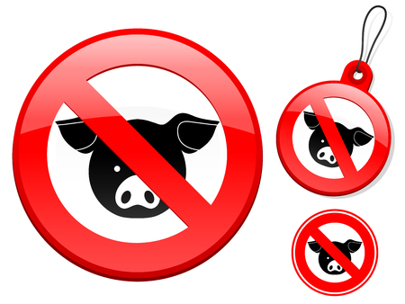 Prohibition sign collection - pig Vector
