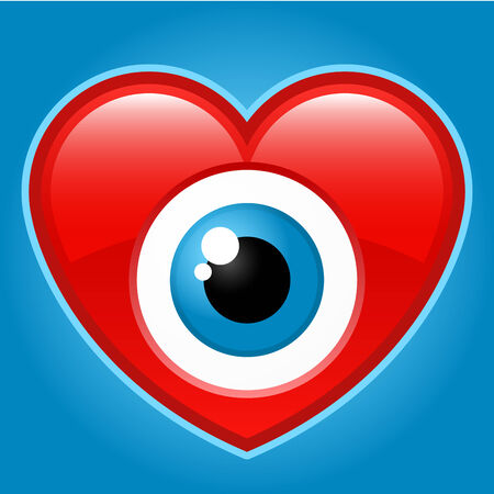 Heart with staring eye Stock Vector - 4921843