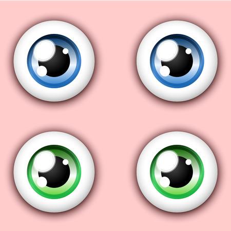Glanzend cartoon oog-collectie Vector Illustratie