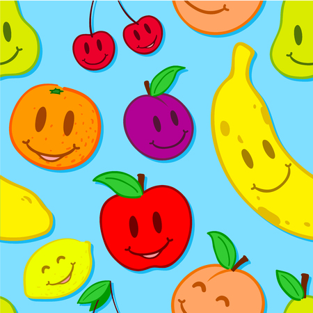 Seamless, smiling fruit background Vector