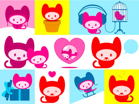 Cute kitten collection Vector