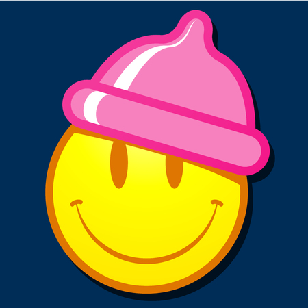Smiley face with condom hat Vector
