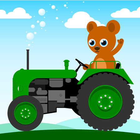 old farmer: Cute bear driving an old tractor